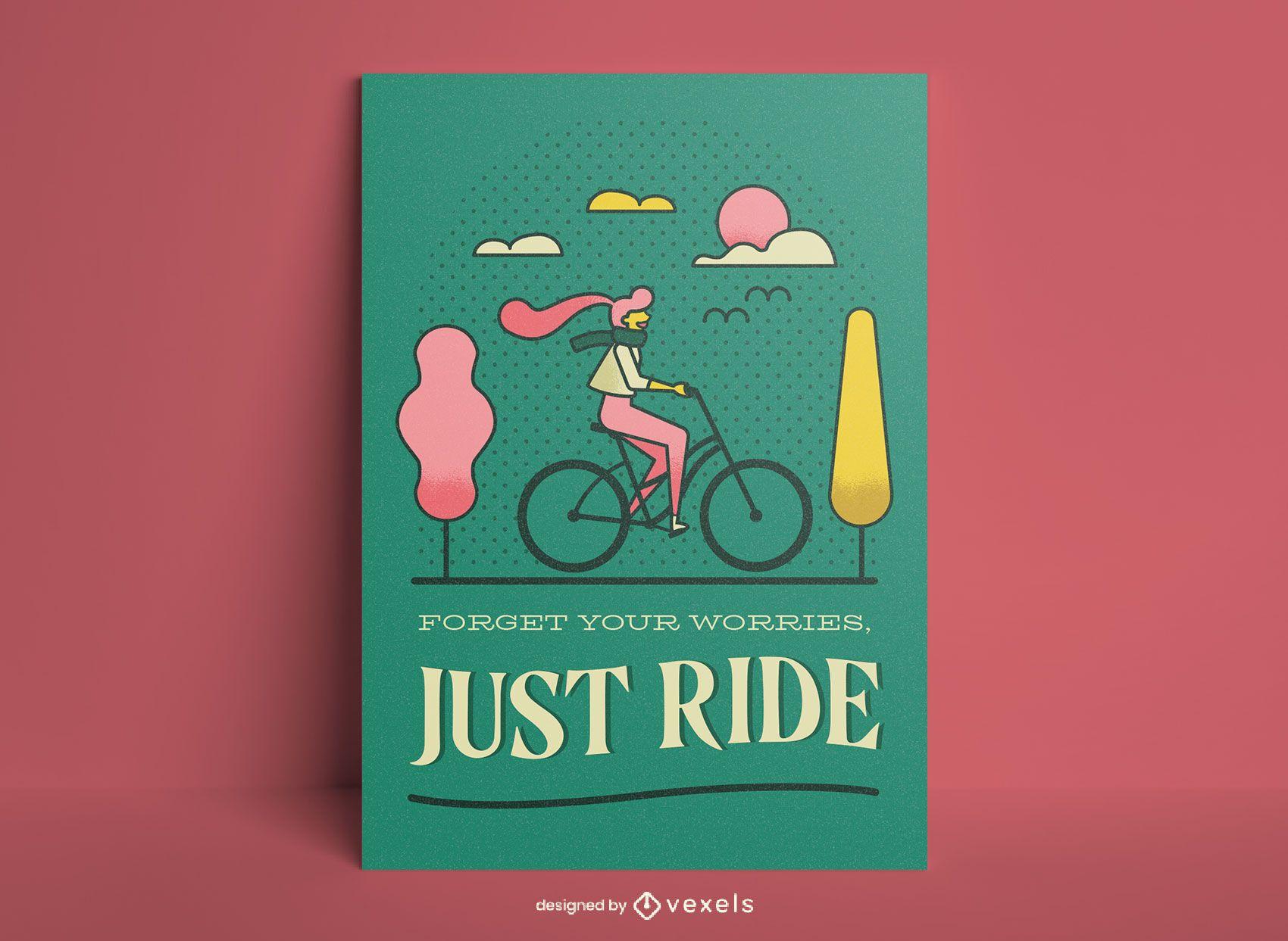 Póster solo monta en bicicleta
