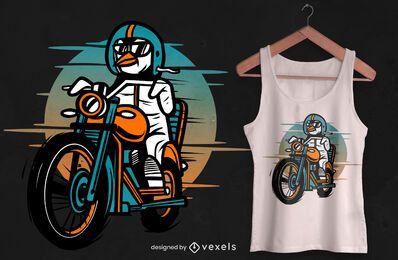 Design de camiseta de motocicleta de pinguim