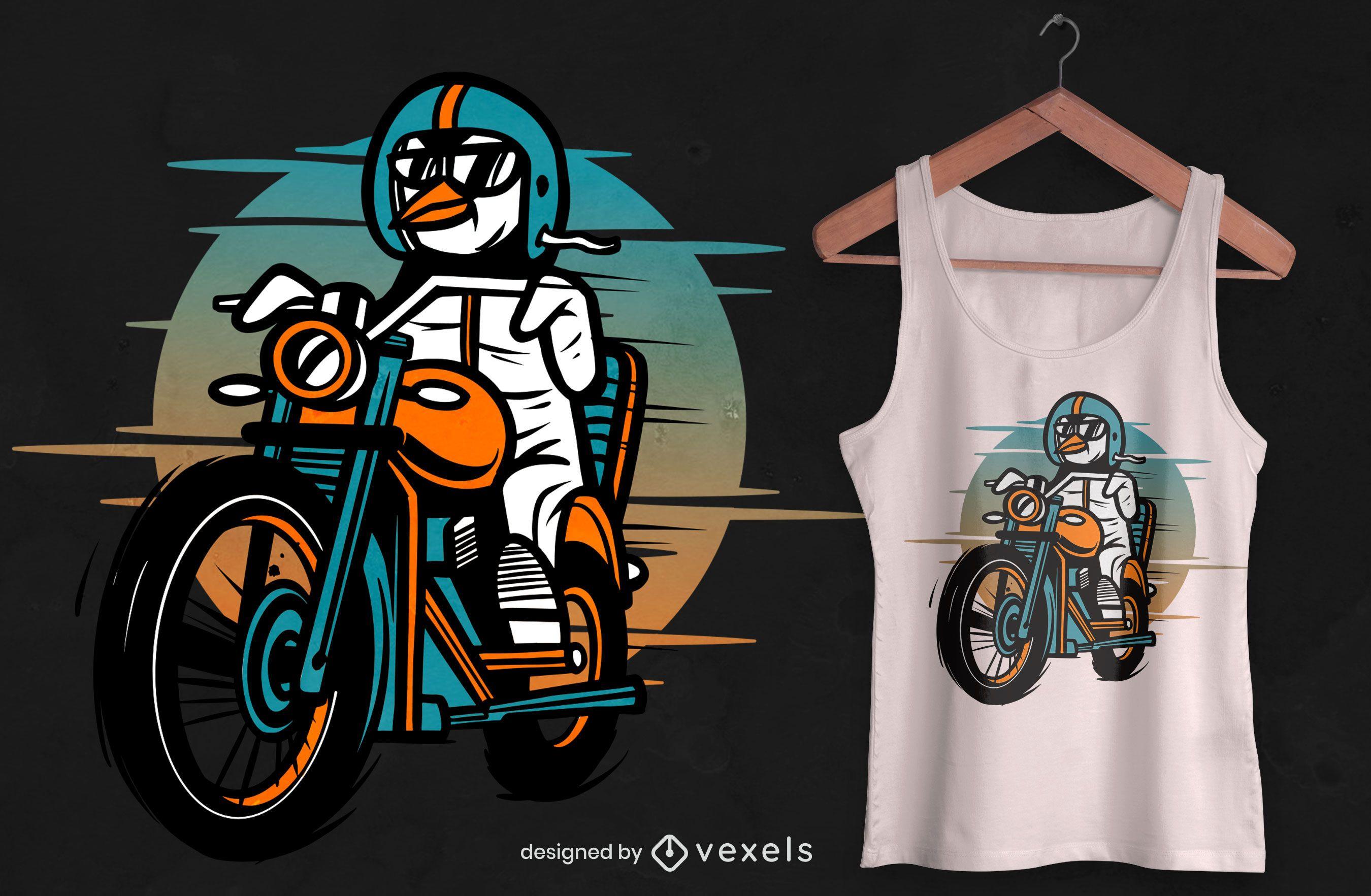 Diseño de camiseta de motocicleta de conducción de pingüinos.
