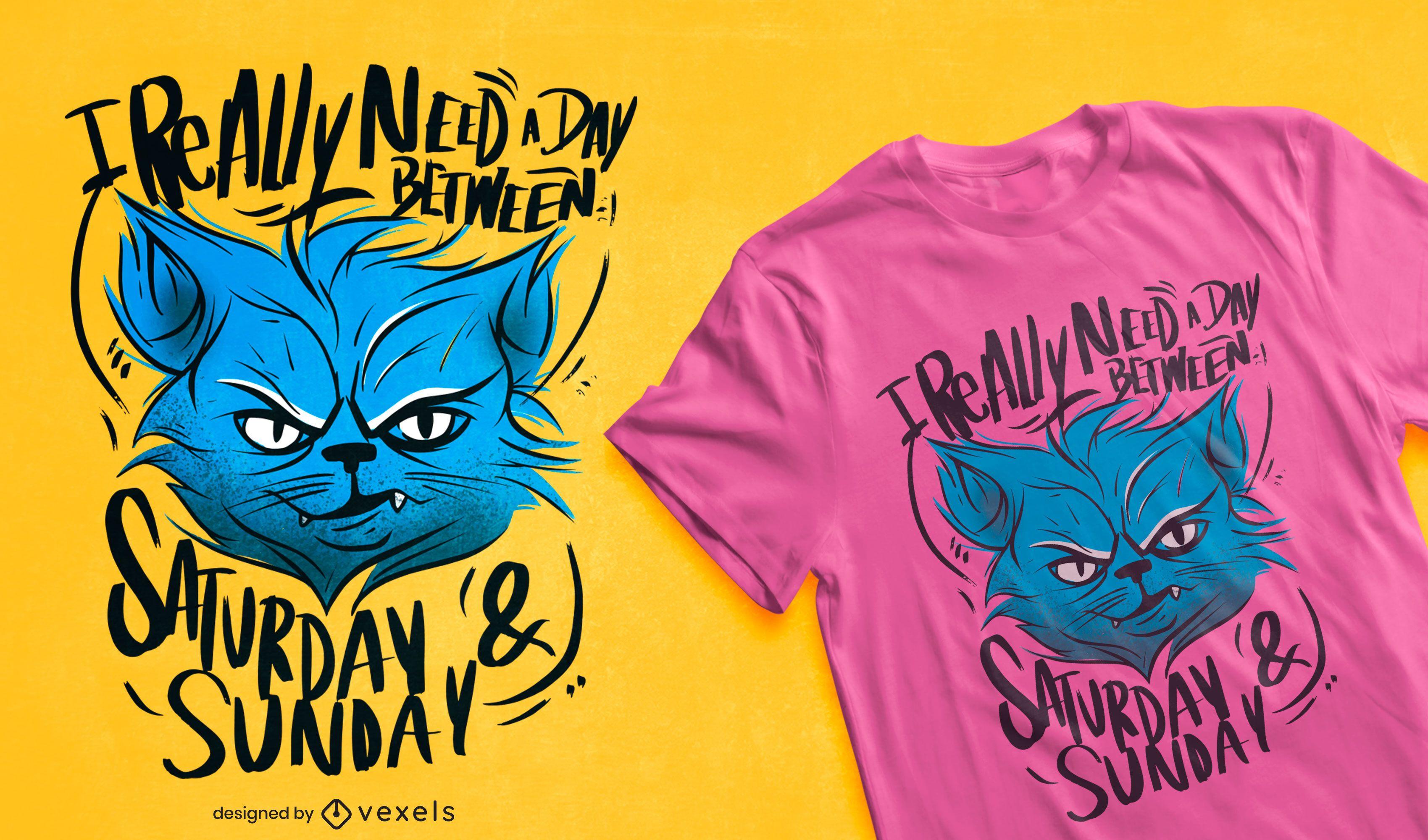 Diseño de camiseta de cita de animal de gato gruñón