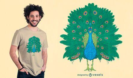 Pfauenvogel realistisches T-Shirt-Design