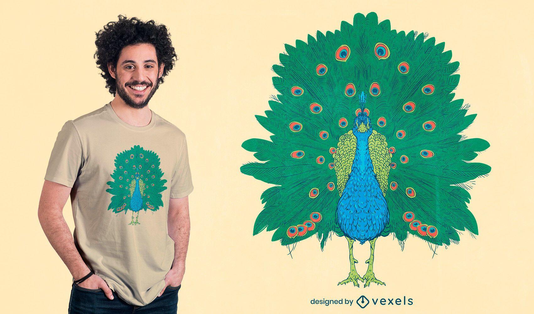 Diseño de camiseta realista de pájaro pavo real