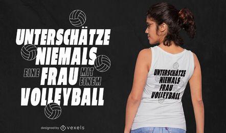 Volleyball-Frauen-Zitat-T-Shirt-Design