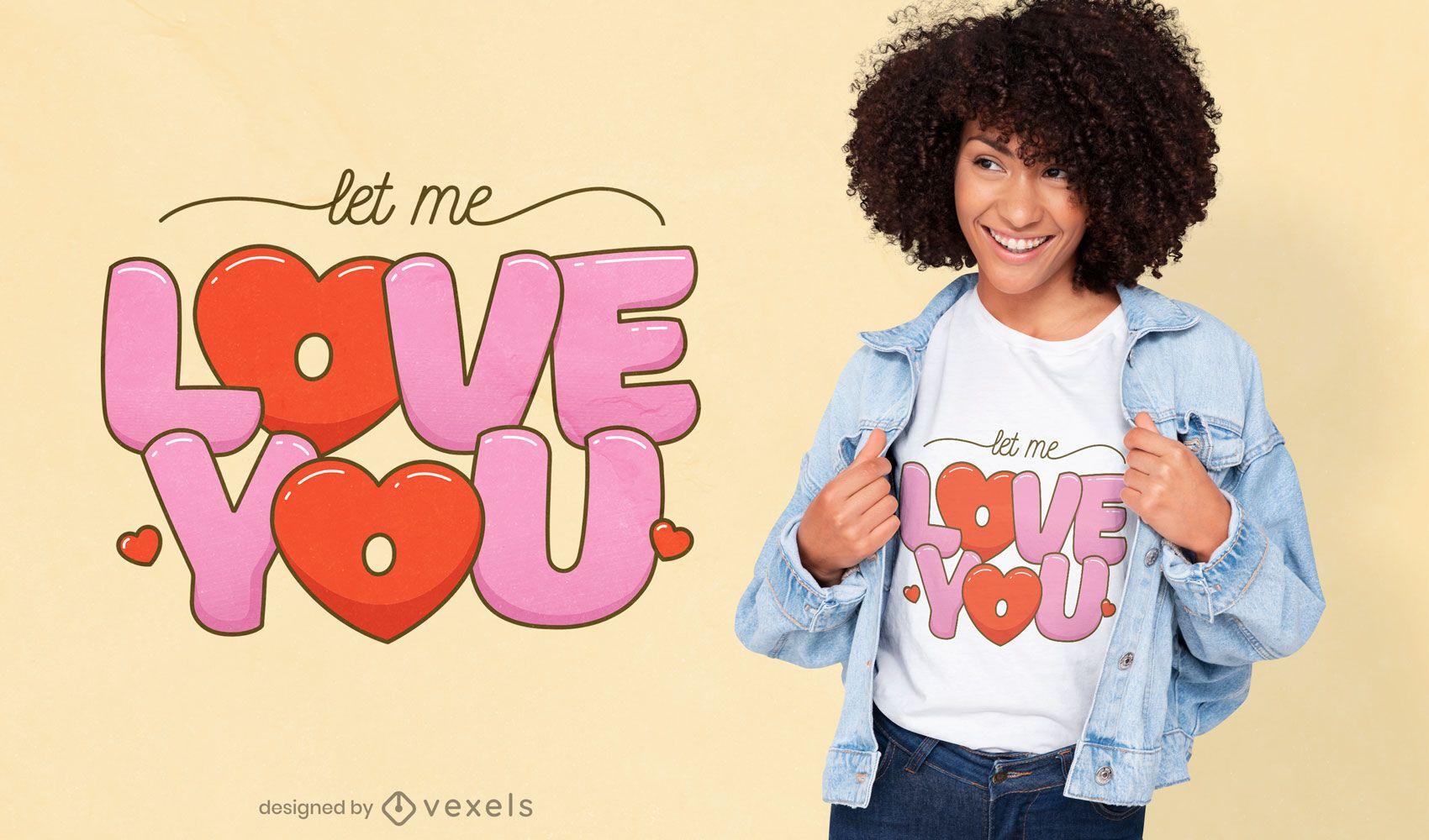 Te amo design de t-shirt com citação de coração