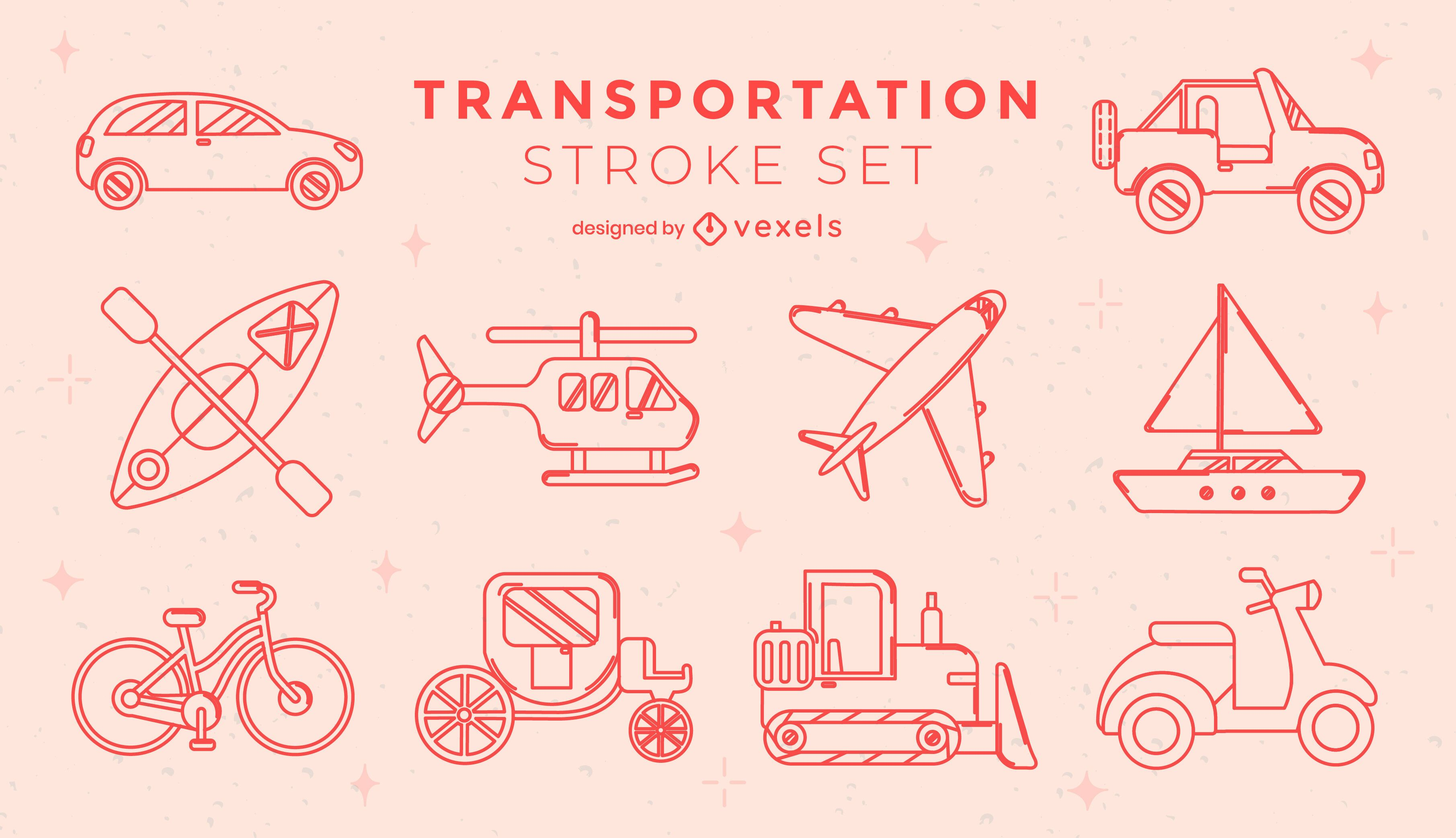 Set of geometric transport stroke