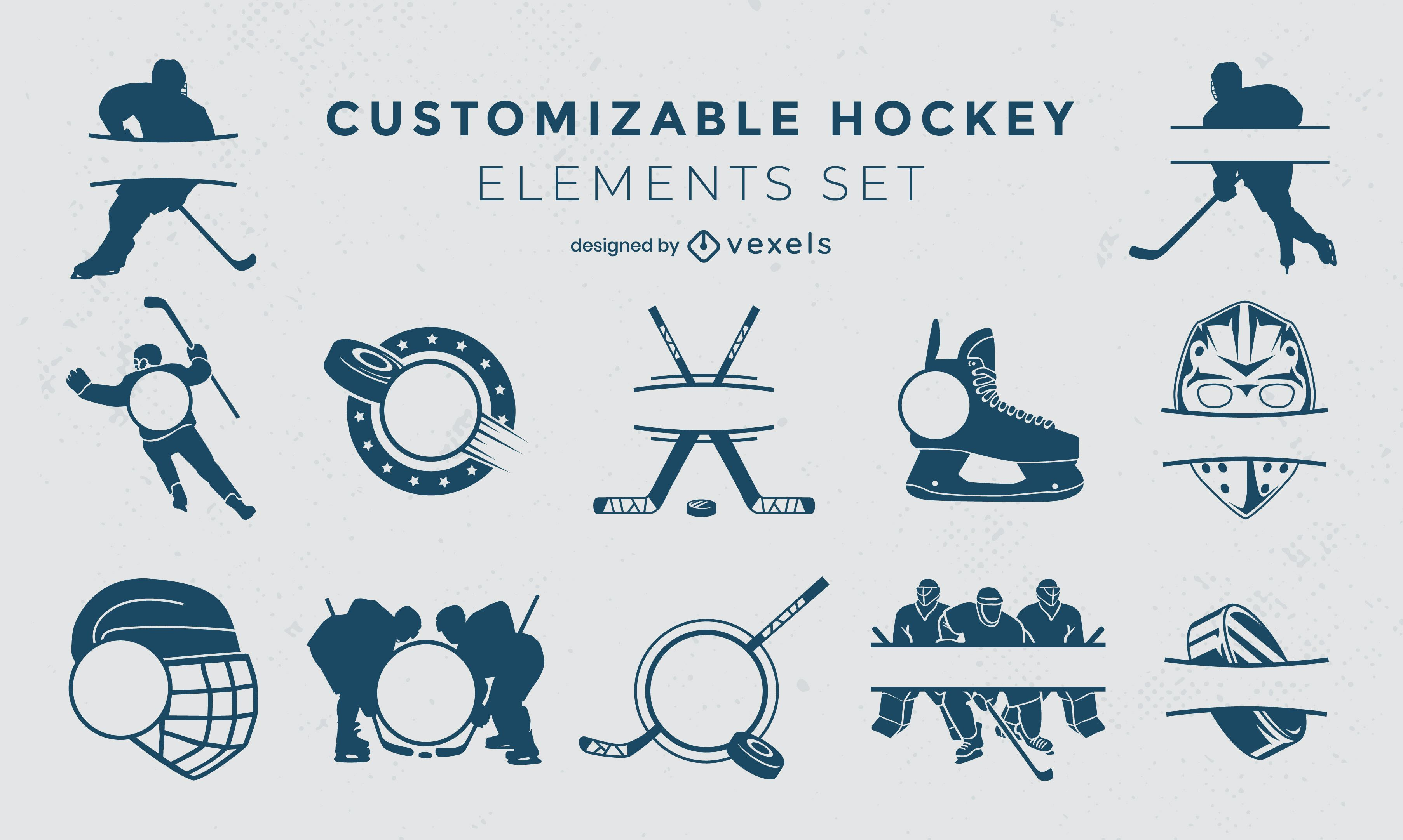 Set of filled stroke ice hockey labels