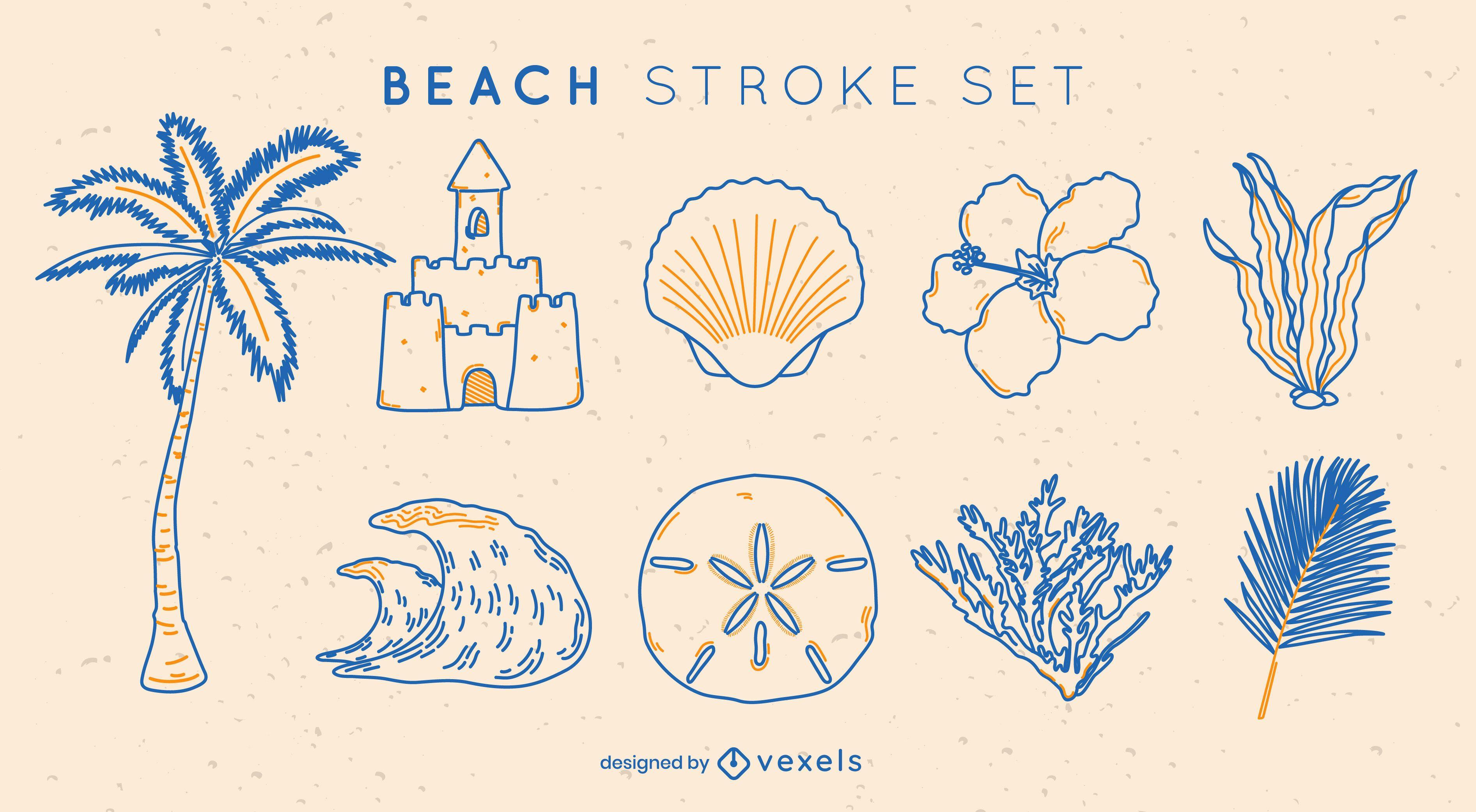 Beach elements duotone stroke set