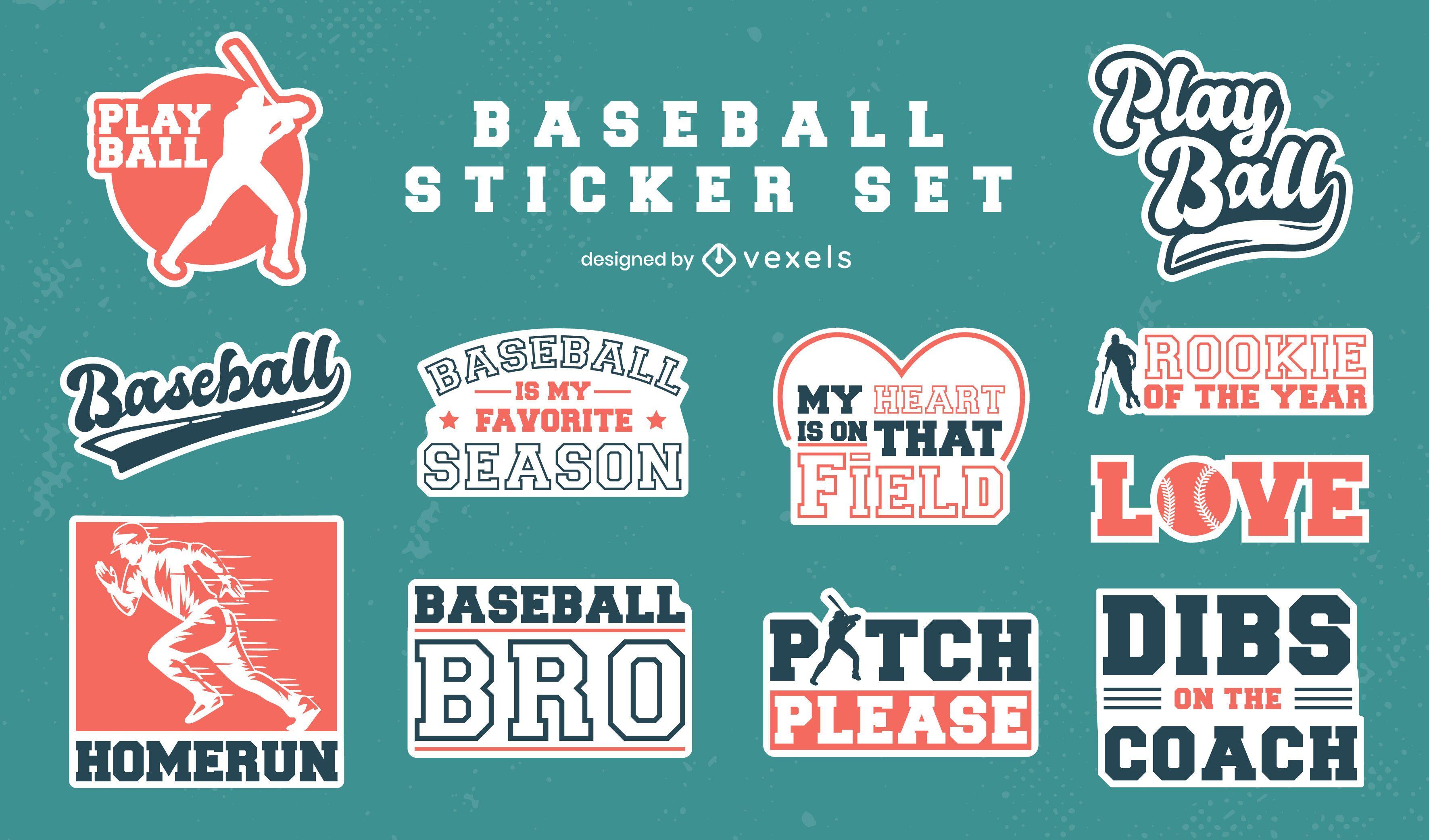 Conjunto de adesivos vintage de beisebol