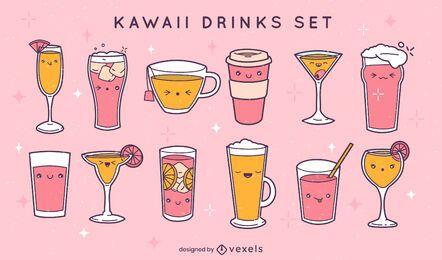 Set of kawaii drinks and glasses