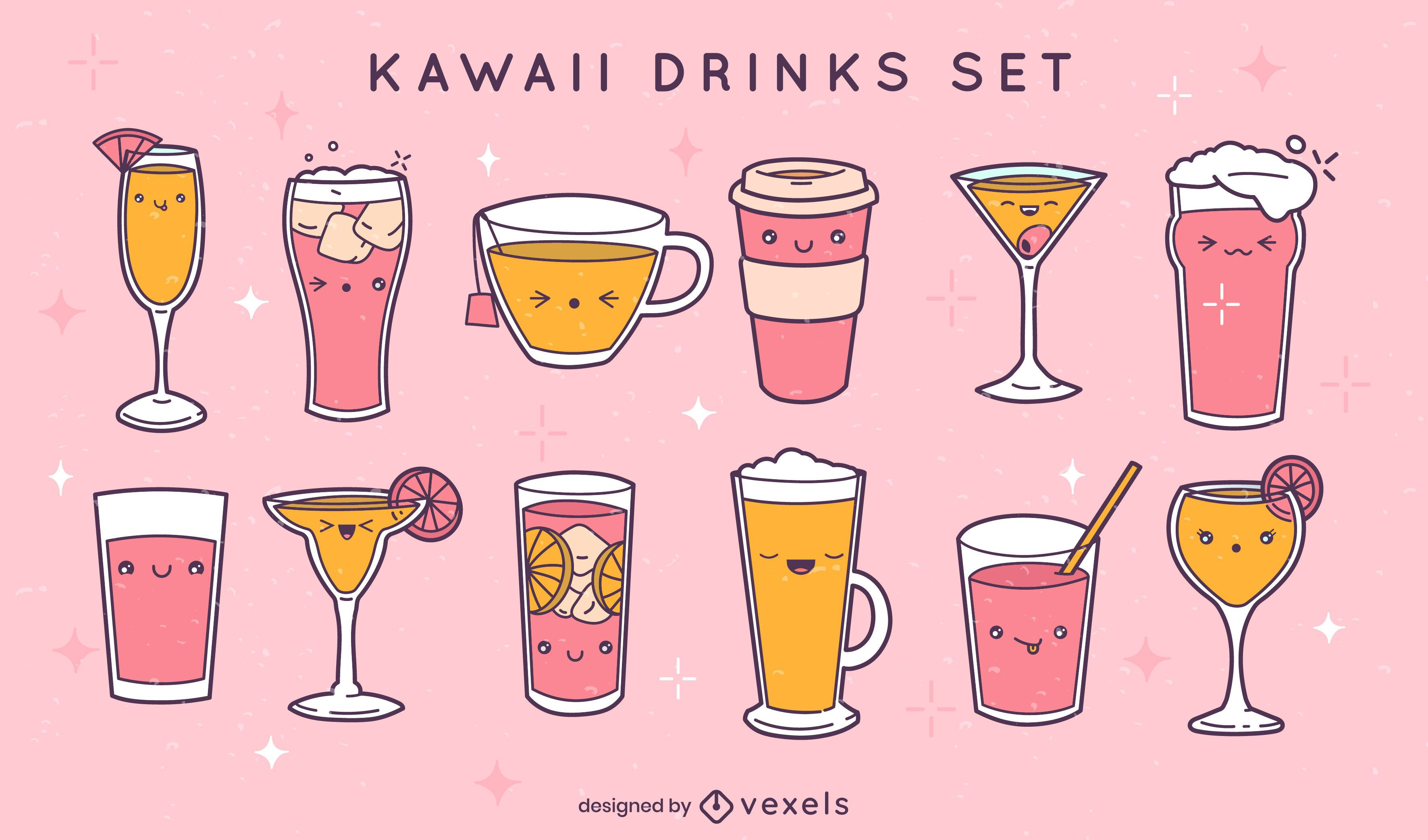 Conjunto de bebidas e copos kawaii