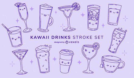 Set of stroke kawaii drinks and glasses