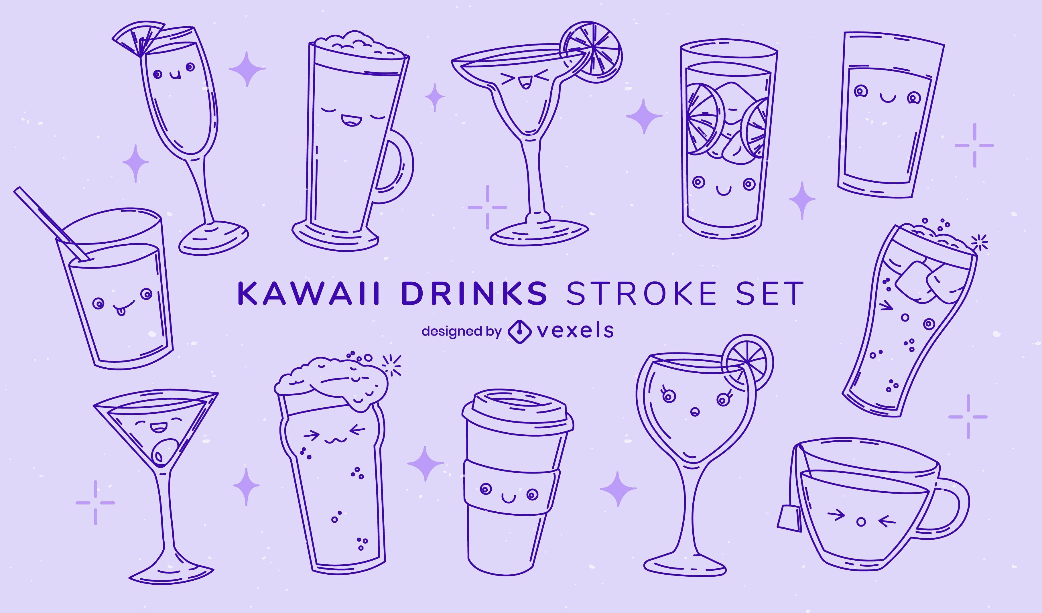 Conjunto de bebidas e copos kawaii para derrame