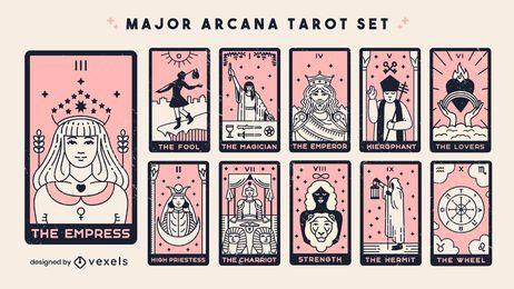 Conjunto de cartas del tarot de arcanos mayores