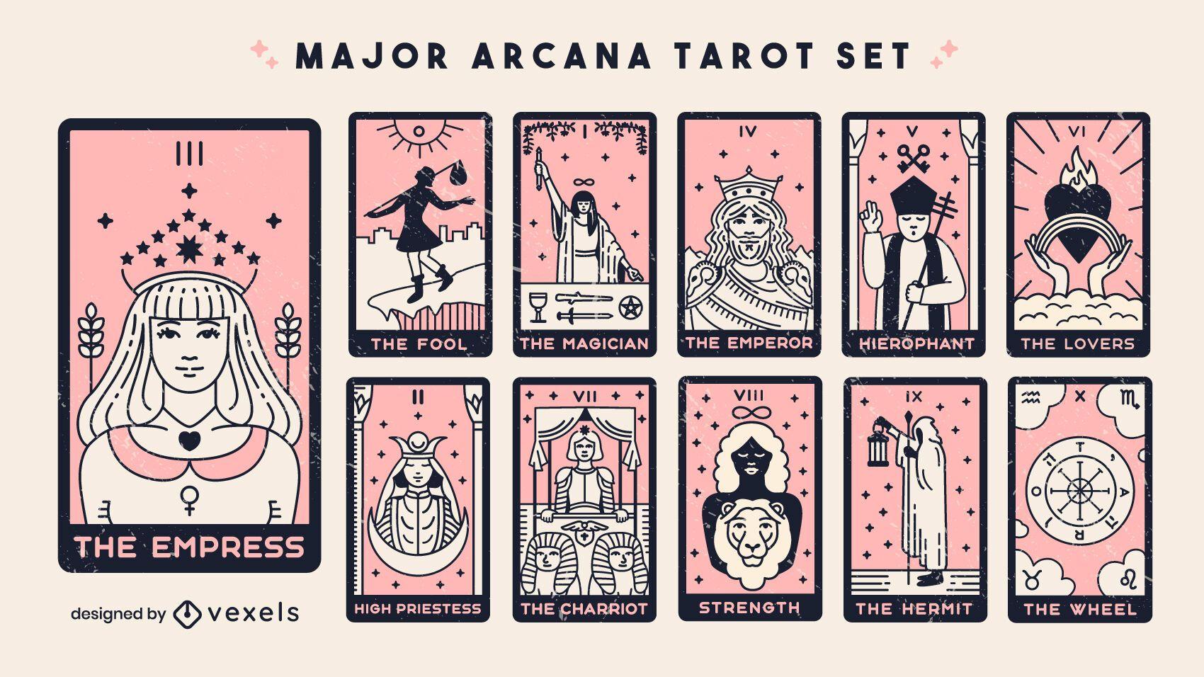 Conjunto de cartas de tarô arcanos principais
