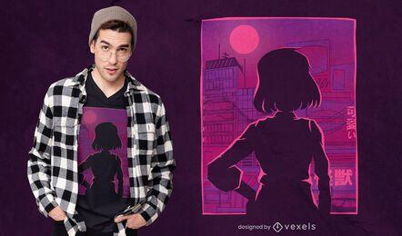 Stadtfrauen-Silhouette-T-Shirt-Design
