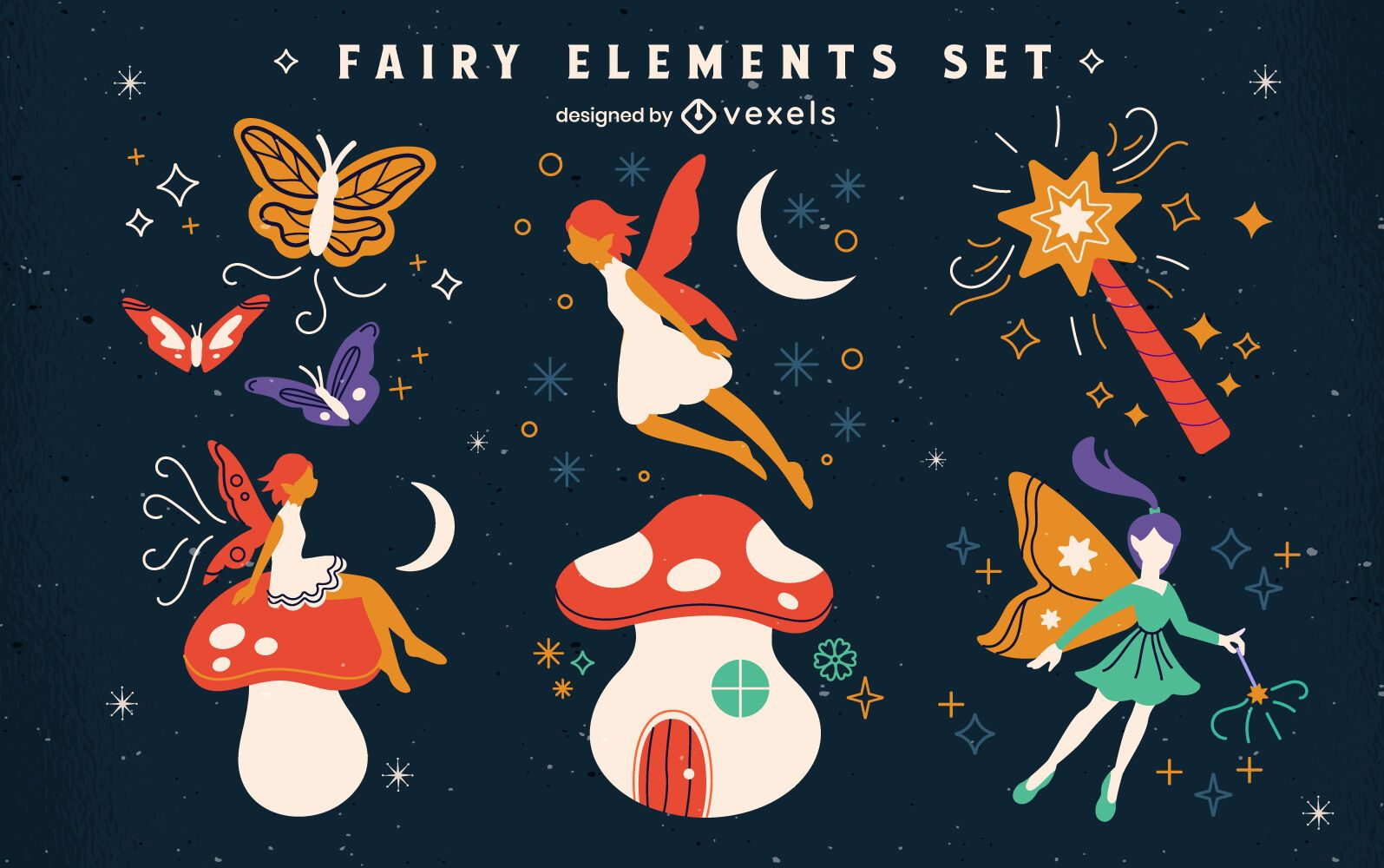 Set of flat fairy elements