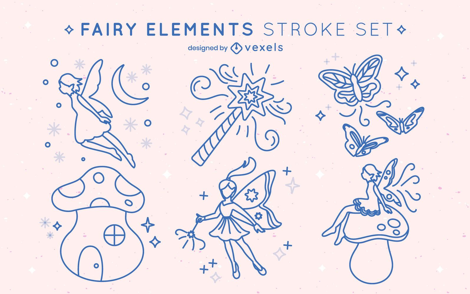 Set of stroke fairy elements