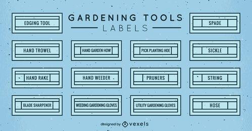 Conjunto de etiquetas de herramientas de jardinería
