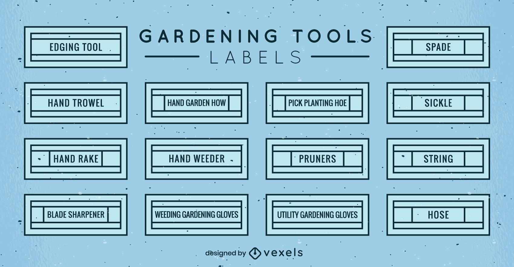 Conjunto de rótulos de ferramentas de jardinagem