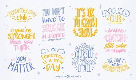 Mental health awareness lettering set