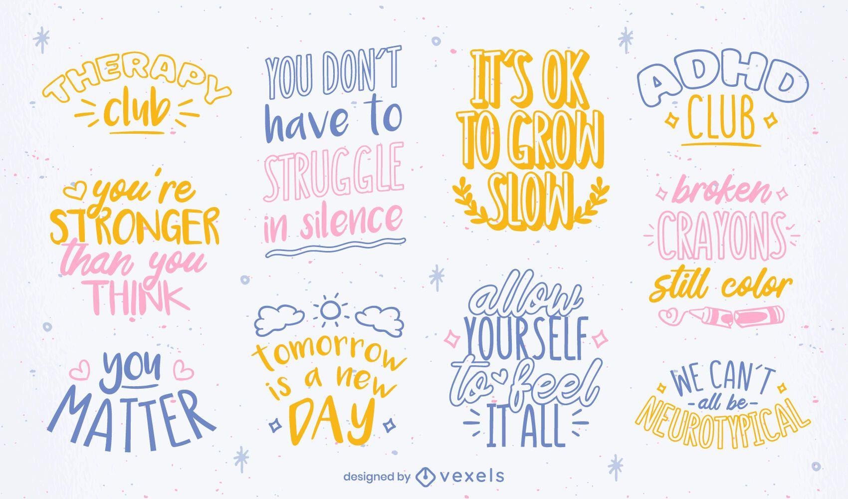 Conjunto de letras de conscientização sobre saúde mental