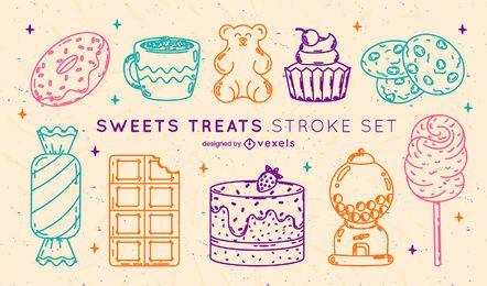 Sweet treats colorful stroke set