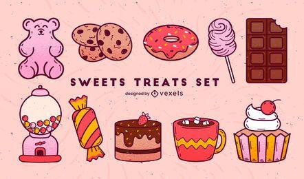 Conjunto de trazo de color de dulces