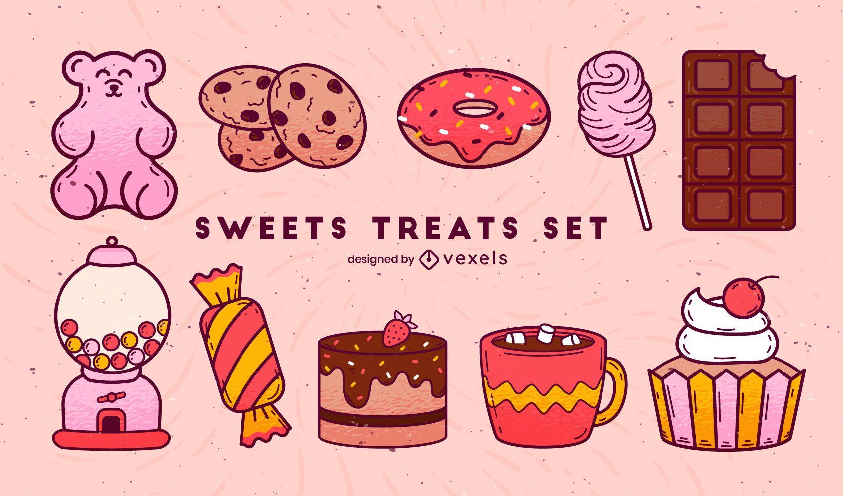 Color stroke set of sweet treats