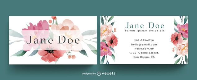 Floral watercolor business card template