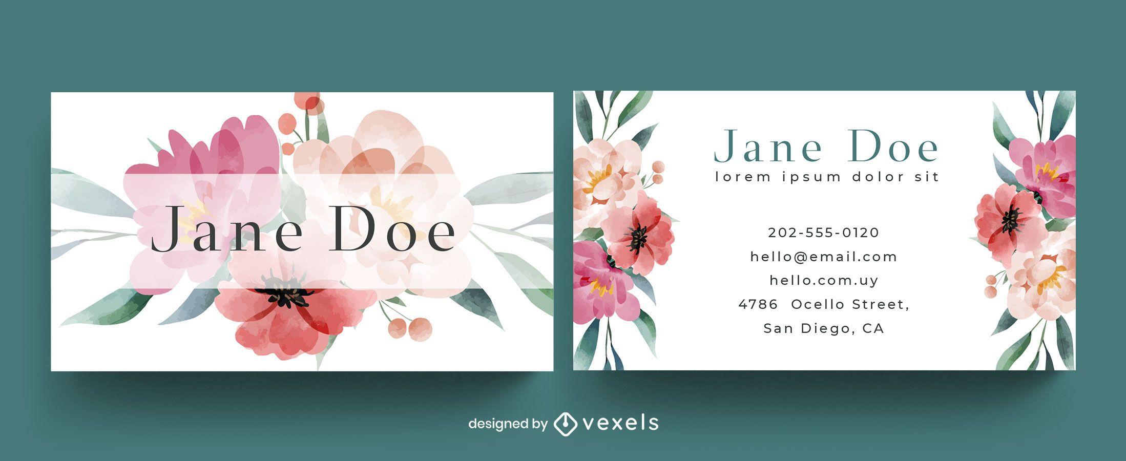 Visitenkartenvorlage mit Blumenaquarell