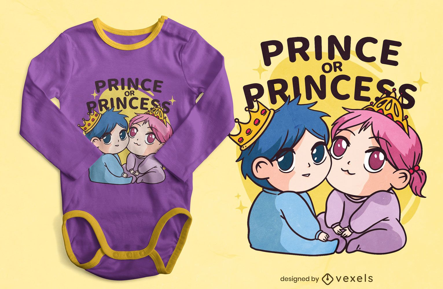 Diseño de camiseta de bebés rey y reina.