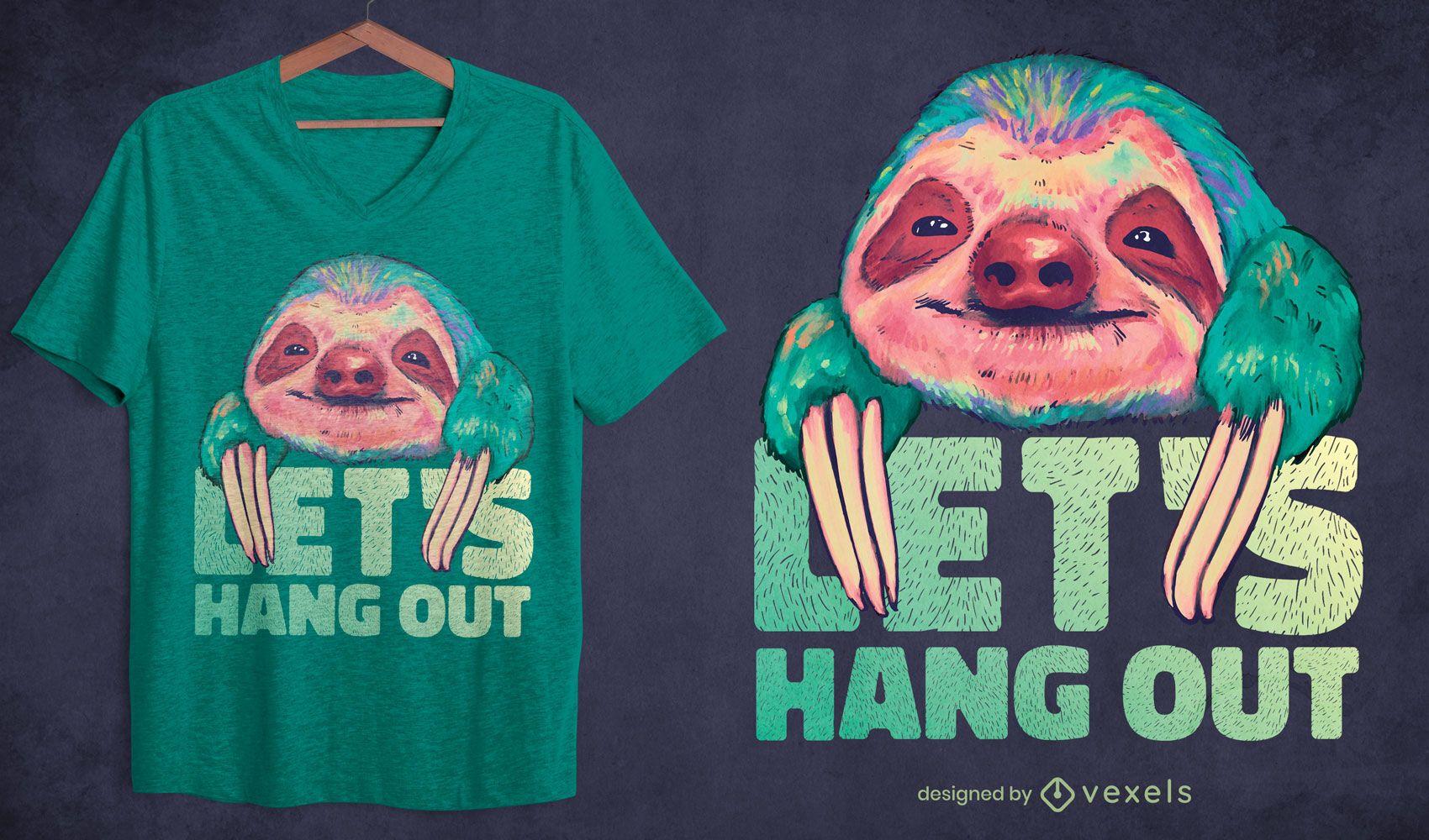 Desenho de t-shirt em aquarela de preguiça feliz