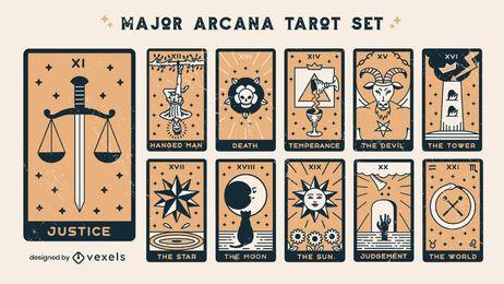 Major arcana set of color stroke cards