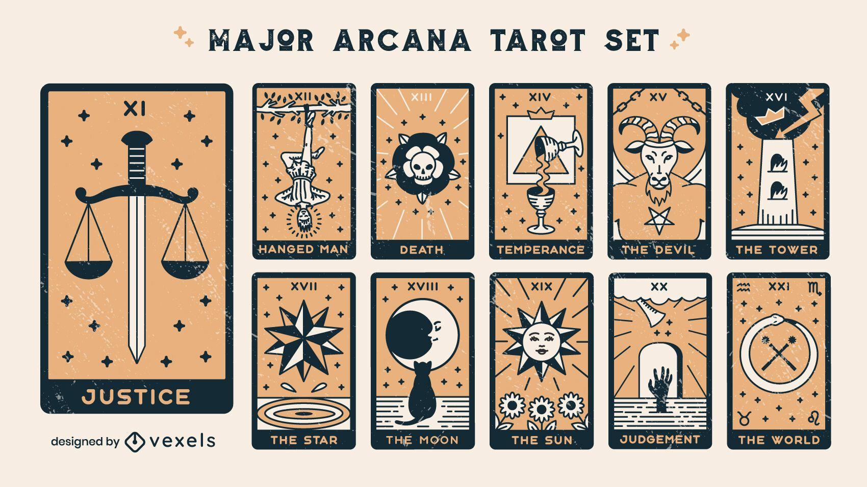 Conjunto de arcanos mayores de cartas de trazo de color.