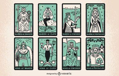 Color stroke set of tarot cards