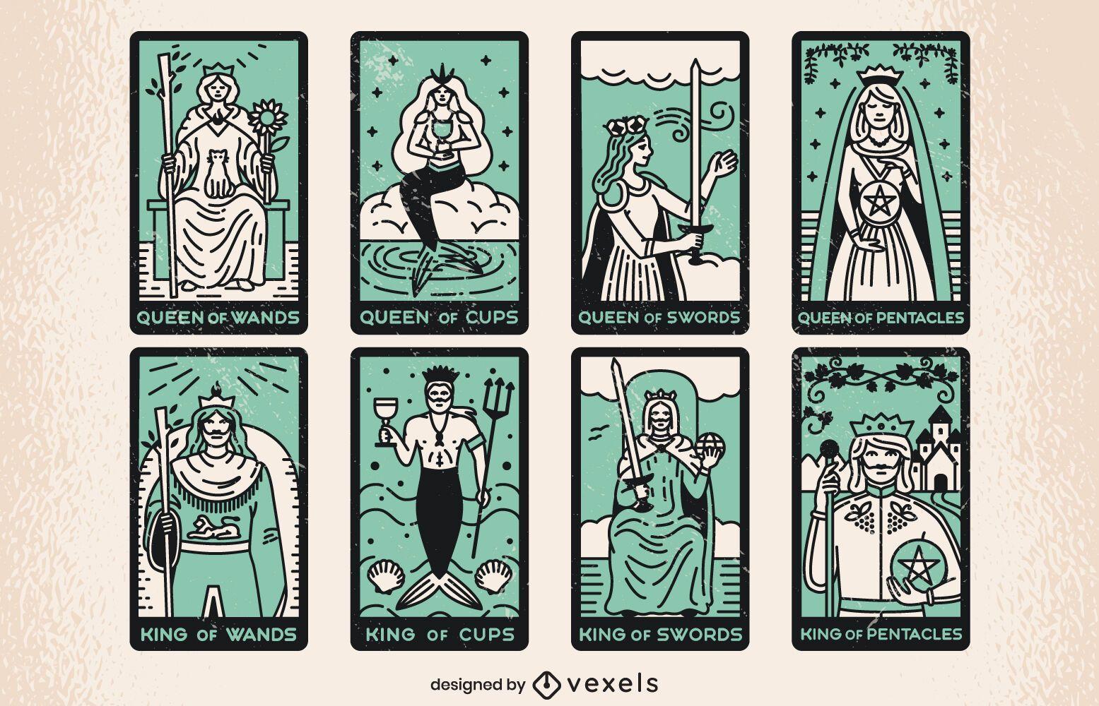 Conjunto de trazo de color de cartas del tarot