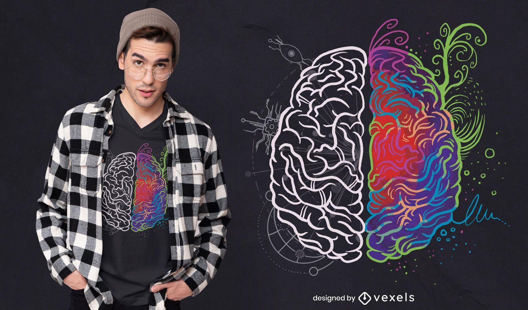 Diseño de camiseta de cerebro artístico y lógico.