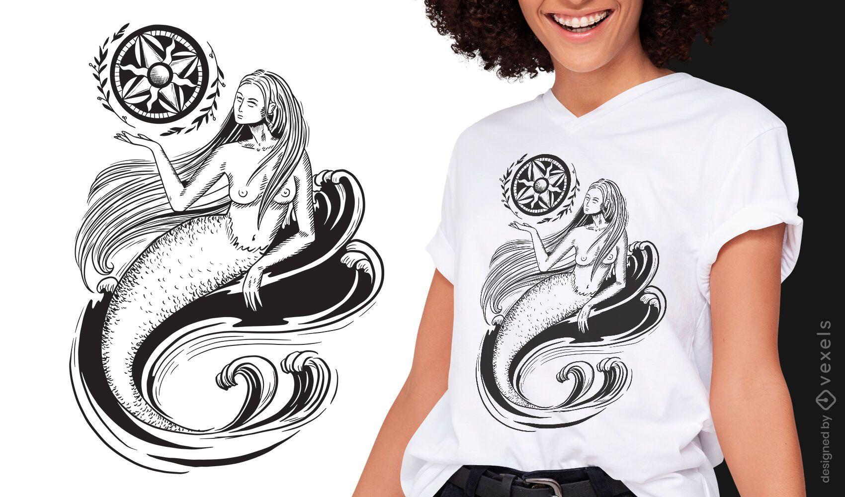 Mermaid dark art nouveau t-shirt design