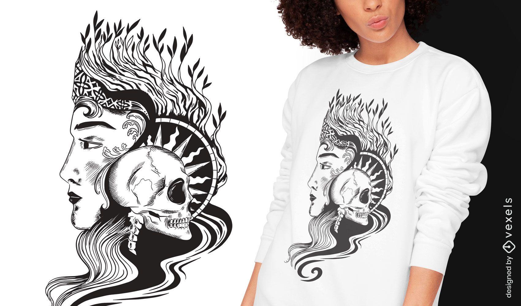 Skull queen dark art nouveau t-shirt design