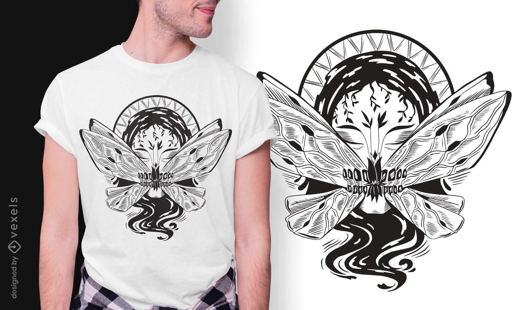 Butterfly mouth dark art nouveau t-shirt design