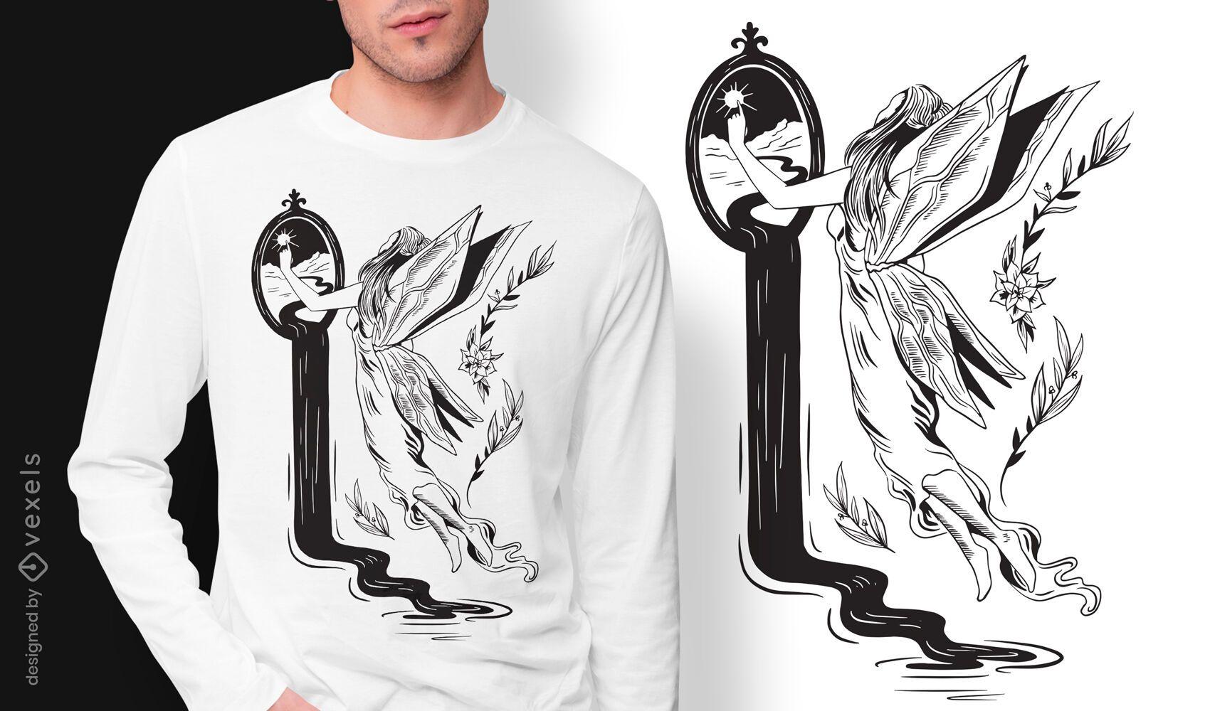 Fantasy fairy dark art nouveau t-shirt design