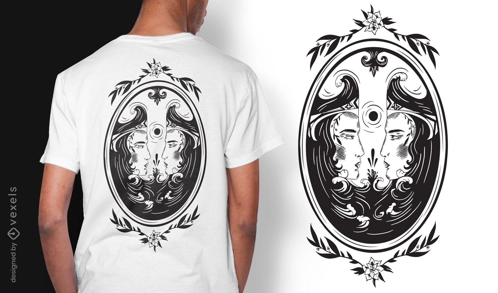 Doubles mirror dark art nouveau t-shirt design