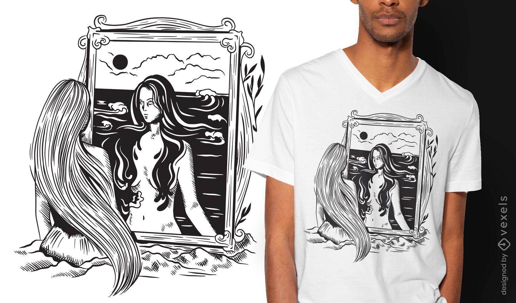 Woman portrait dark art nouveau t-shirt design