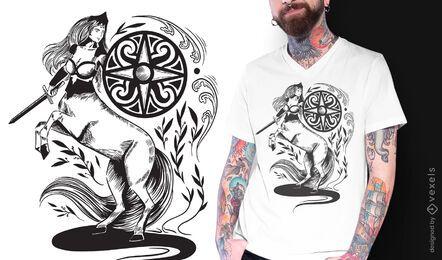 Centaur dark art nouveau t-shirt design