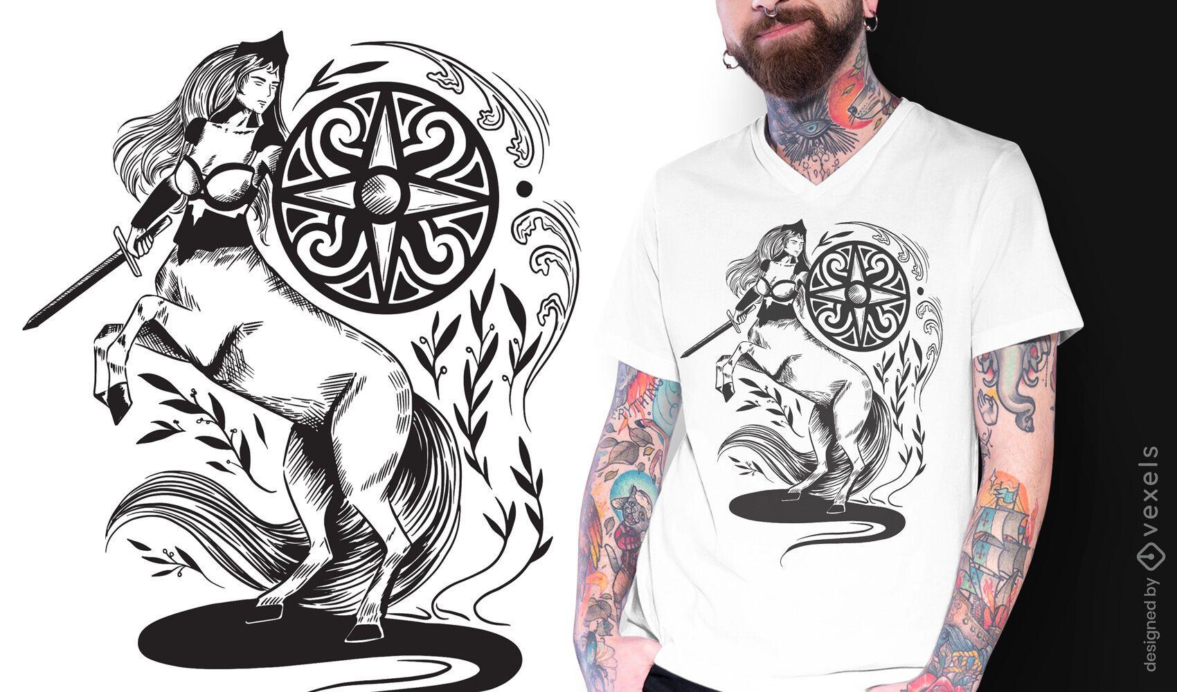 Diseño de camiseta Centaur dark art nouveau.