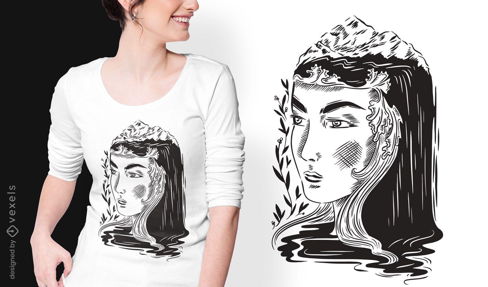 Nature woman dark art nouveau t-shirt design