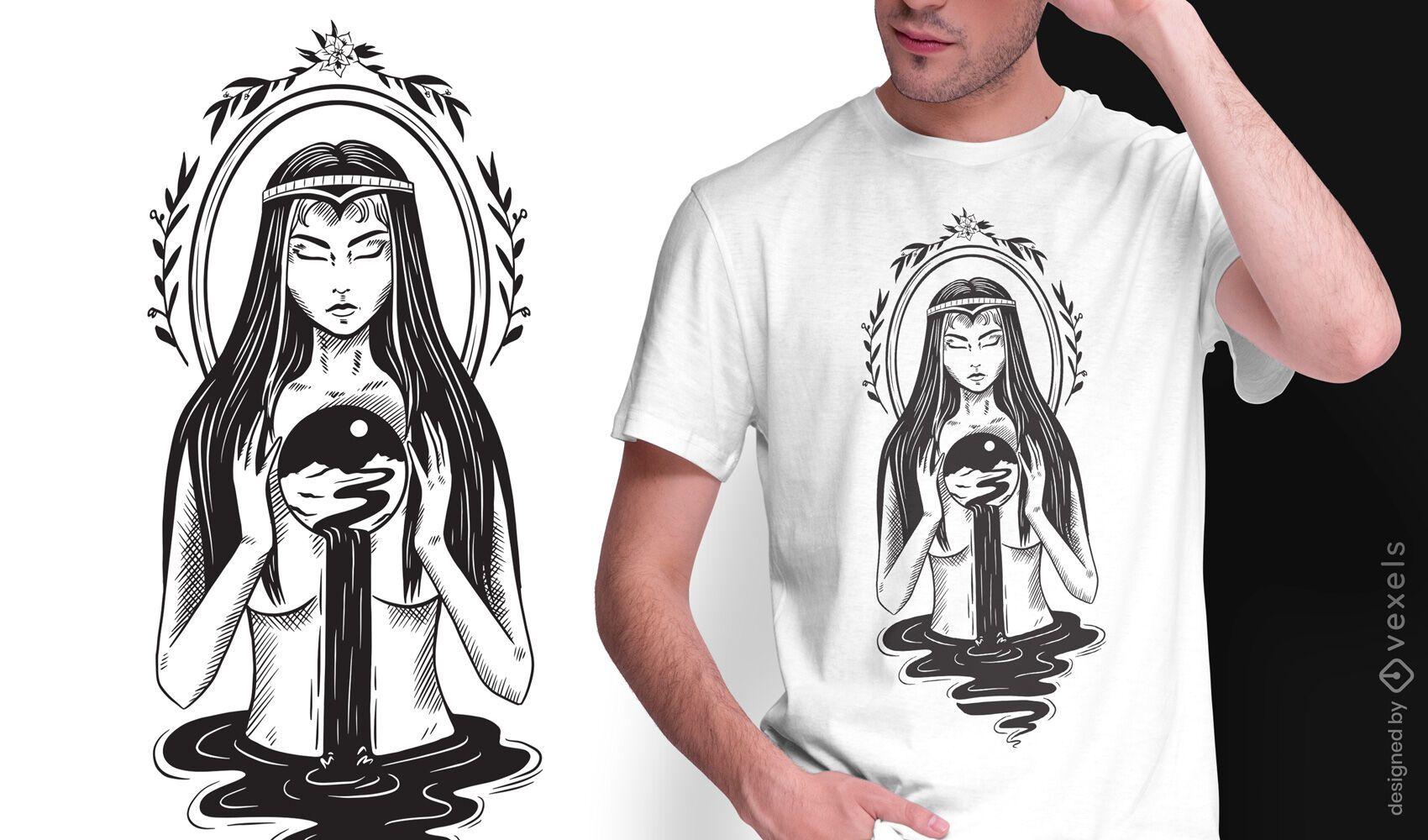 Magic woman dark art nouveau t-shirt design