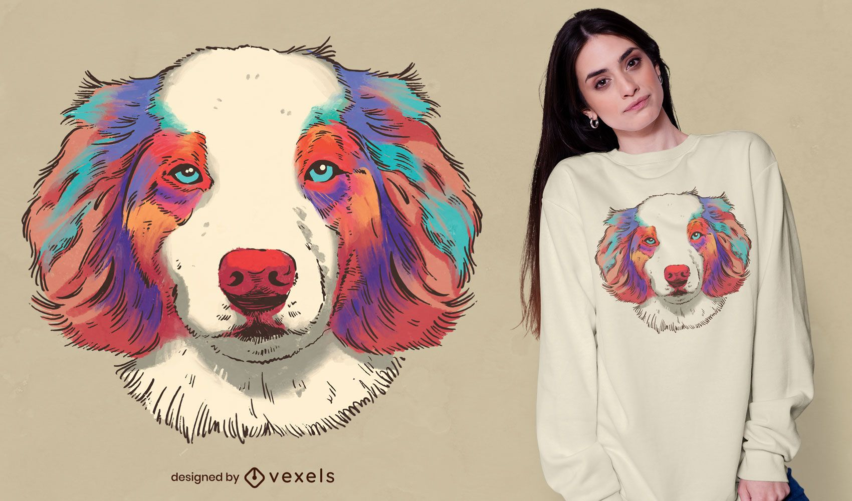 Diseño de camiseta realista de perro pastor australiano