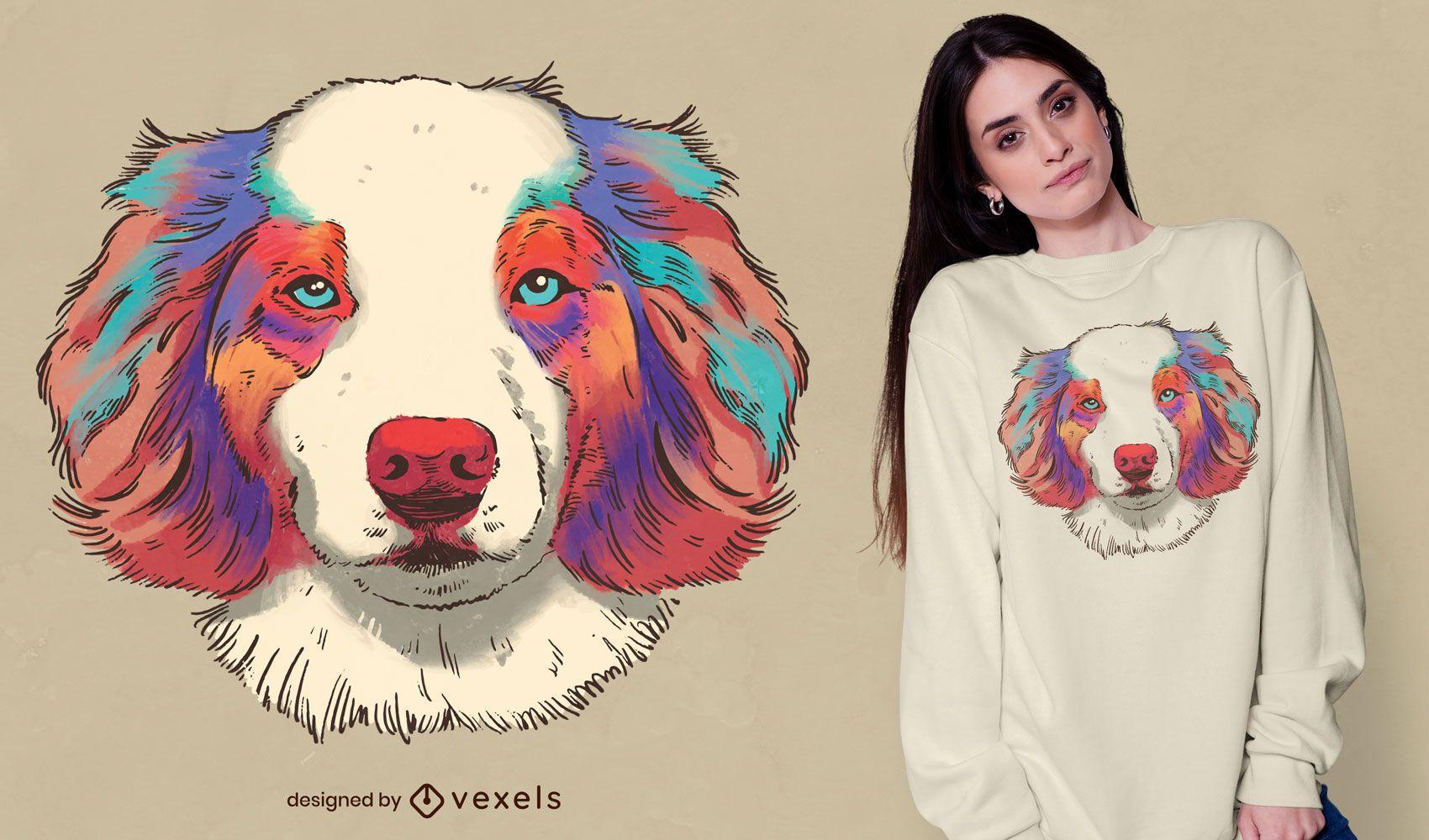 Dog australian shepherd realistic t-shirt design