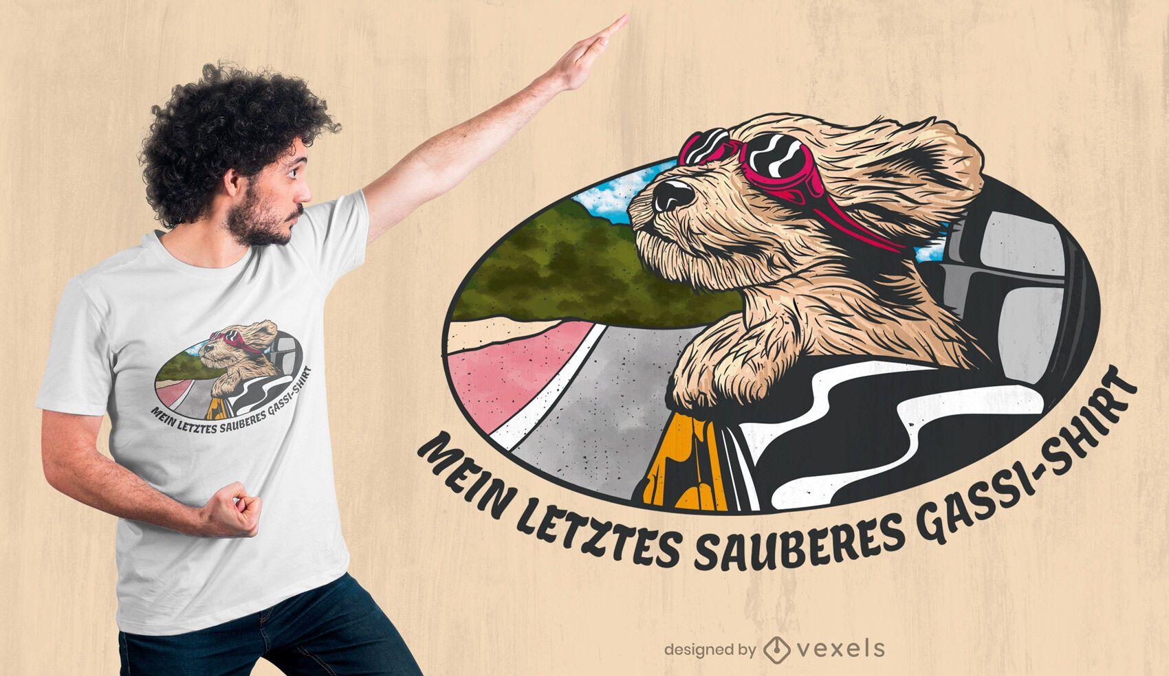 Design de camiseta com cão sobre janela